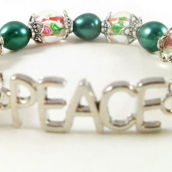 PEACE Inspirational Red & Green Glass Beaded Stretch Bracelet with Silver Accents ~ Boho Chic ~ Trending Womens Jewlery