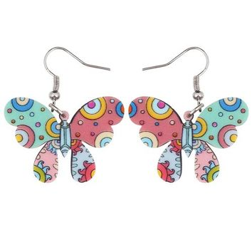 Bonsny Fashion Big Long News Acrylic Drop Dangle Insect Butterfly Earrings Unique Style Fashion Jewelry For Girl Women Teen Gift