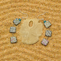 Gray Peacock Squares and Sea Glass Earrings
