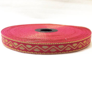 Shocking Pink and Gold Border - Indian Sari Border - Border for Dresses - Scrapbooking - Indian Handloom Border