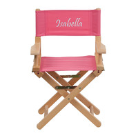 Flash Furniture Embroidered Kid Size Directors Chair in Pink