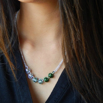 Necklace-Green Ombre Chain Maille Necklace // Chainmaille Renaissance Jewelry // Mint Green Chainmail