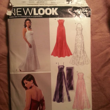 Uncut Simplicity New Look Sewing Pattern, 6454! 8-10-12-14-16-18 Small/Medium/Large/Women's/Misses/Sleeveless/Spaghetti Strap/Halter Dress