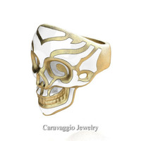 Mens Modern Italian 14K Yellow Gold White Enamel Skull Ring R635-14KYGSWE