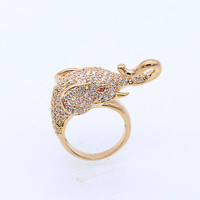 Elephant Head Nose 18K Yellow Gold Plated White Zircon Animals Ring Size 6 8