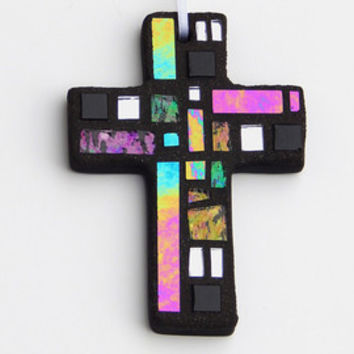 Mosaic Ornament, Cross, Black + Textured +Iridescent Glass, Handmade Stained Glass Mosaic Design