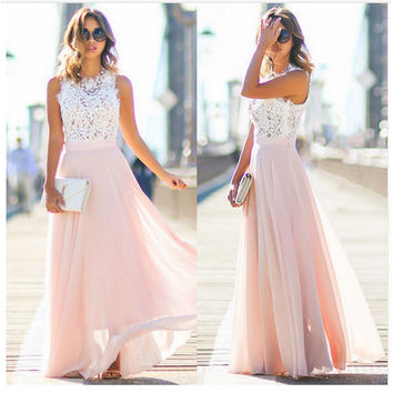 Chiffon Lace Prom Dress Dress One Piece Dress [10390650829]