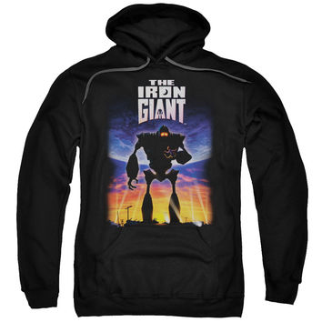 IRON GIANT/POSTER-ADULT PULL-OVER HOODIE-BLACK