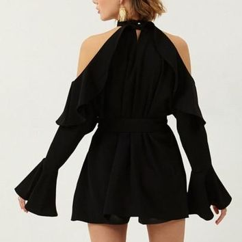 Off-The-Shoulder Lace Up Falbala Women's Sexy Dress