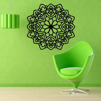 Mandala Wall Decals Flower Indian Pattern Floral Design Amulet Gym Wall Decor Vinyl Sticker Home Decor Vinyl Art Nursery Room Decor KG126