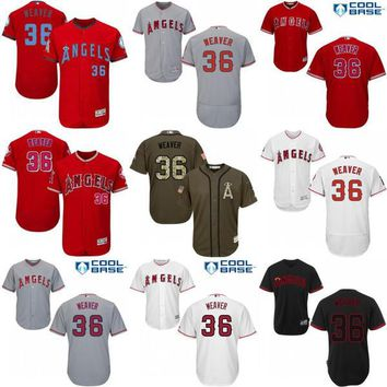 2017 Los Angeles Angels of Anaheim Jerseys 36 Jered Weaver MLB Baseball Jersey Flexbase Cool Base Red Grey White stitched