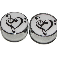 "Love of Music Plugs - 1 Pair - Sizes 2g, 0g, 00g, 7/16"", 1/2"", 9/16"", 5/8"", 3/4"", 7/8"" & 1"""