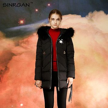SINRGAN 2017 Winter Women Down Coats Long Sleeve Thick 90% White Duck Down Solid Balck Jacket Female Warm Clothes Fox Fur Collar