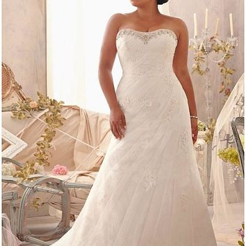 [229.99] Charming Tulle & Satin Sweetheart Neckline Natural Waistline A-line Plus Size Wedding Dress - dressilyme.com