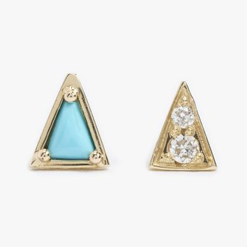 Turquoise Mismatched Studs - Pair