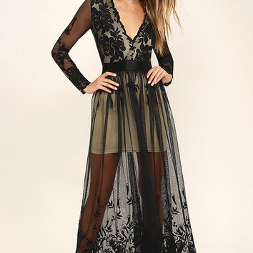 Night Moves Black Embroidered Maxi Dress