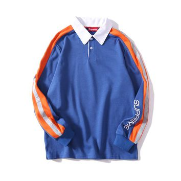 Supreme Tide brand loose wild reflective long sleeve polo sweater blue
