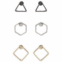 Mixed Shape Earring Pack - Black