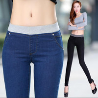 2016 summer Women new plus size brand ultra elastic waist jeans female trousers slim skinny pants girls clothing clothes