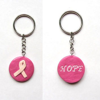 Breast Cancer Awareness Ribbon Hope Keychain, Pink Ribbon, Survivor Gift, Inspirational Gift
