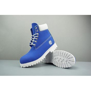 Timberland Leather Lace-Up Boot High Royal Blue White