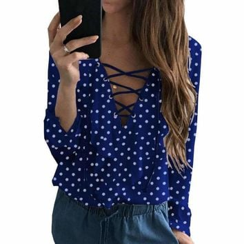 Kawaii Polka Dot Chiffon Blouse New 2018 Spring Summer Ruffles Shirts Blusas Lace-up Top Long Sleeve V-Neck Women Blouses GV473