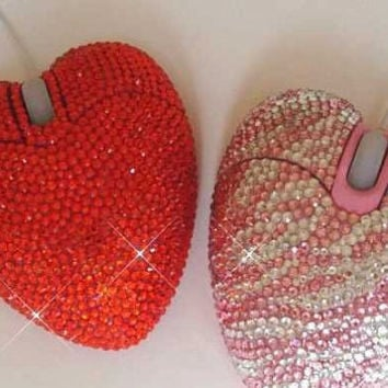 Bling Pink Zebra print heart shaped Crystal laptop Mouse USB  hand Strass/ Swarovski crystal element