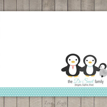 Personalized Penguin Family Note Card