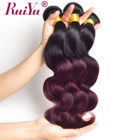 RUIYU Burgundy Bundles Two Tone Hair Extension Malaysian Body Wave Hair T1b/99j Ombre Human Hair Bundles Non Remy Hair 1 PC Only