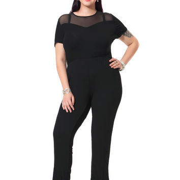 Plus Size Sexy Black Jumpsuit Casual Stretch Cotton Jumpsuits With Net Patchwork Fashion Bodysuits 3xl-7XL