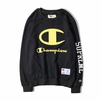 Champion Round Neck Letters Printed Long Sleeved Sweater Coat