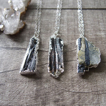 Raw Gemstone Chunk Necklace Healing Stone Black Tourmaline Necklace Rough Gemstone Pendant