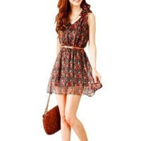 Allegra K Women Self Tie Bowknot Shoulder Flower Print V Neck Dress Red XS: Amazon.com: Clothing