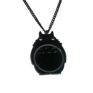 Totoro Necklace Black Laser Cut My by KitschBitchJewellery on Etsy