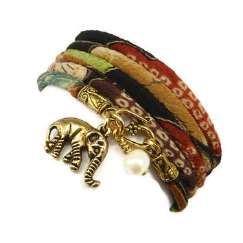 Lucky Gold Elephant Wrap Bracelet made with Japanese Chirimen Cord, yoga jewelry, wrapped wrapping bracelet, wrap around