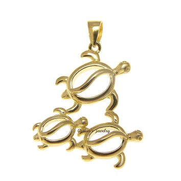 YELLOW GOLD PLATED STERLING SILVER 925 HAWAIIAN 3 HONU TURTLE FAMILY PENDANT
