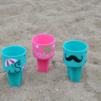 Personalized Beach Spiker/ Assorted Colors/ Palm Tree/ Mustache/ Beach