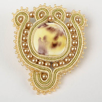 Beautiful handmade designer soutache brooch with beads and polymer clay for gift