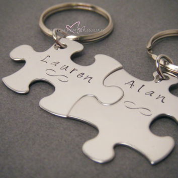 Infinity Keychains with names, Personalized Keychains, Couples Keychains, Name Keychains, Puzzle piece keychains