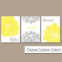 Bathroom Decor, Yellow Gray BATHROOM Wall Art, CANVAS or Prints, Bathroom Artwork, Flower Set of 3 Relax Soak Unwind, Home Decor Pictures