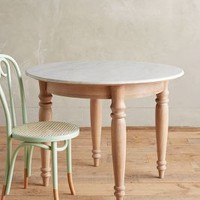 "Polished Marble Dining Table, Round by Anthropologie in Neutral Size: 40"" Round Furniture"