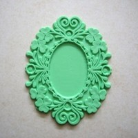 DESTASH Shabby Chic (5)  setting for cameo or cabochon apple green (5)