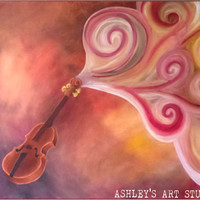 "Violin Painting Musical - Original Oil Painting 40"" x 30"" - Hand Painted"