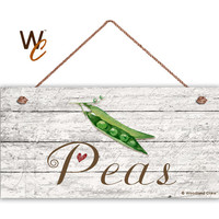 "Peas Sign, Garden Sign, Rustic Decor, Distressed Wood, Weatherproof, 5"" x 10"" Sign, Vegetable Sign, Gift For Gardener, Made To Order"