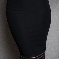Sarah LA High-Waisted Pencil Skirt With Sheer Stripe Trim - Black