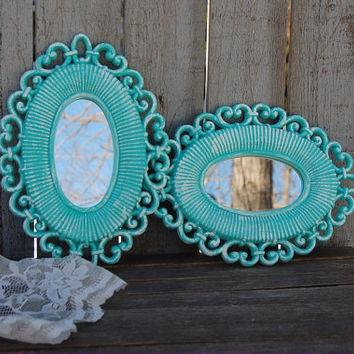 Shabby Chic Mirrors, Tiffany Blue, White, Upcycled Vintage, Ornate, Wicker, Beach Decor, Wedding Decor, Homco, Syroco