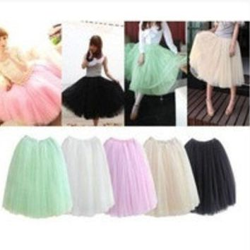 2014 Women Fashion 5 Layers Tutu Princess Chiffon Mesh Skirt Petticoat Knee Length Sweet Girl Candy Color Skirts = 1946820548