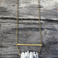 Raw Brass & Clear Crystal Quartz Necklace - Gift Boxed