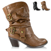 Women Western Cowgirl Cowboy Slouchy Boot Buckle Heel RoundToe Soda Shoes Weskit