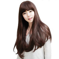 Natural Wigs Has Bangs Matt Paint Fashion Long Straight Wig Hair